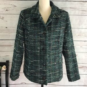 Christopher Banks Fuzzy Long Sleeve Button Jacket